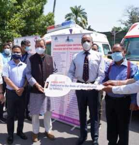 मुख्यमंत्री ने जनता को समर्पित की लाइफ सपोर्ट एंबुलेंस